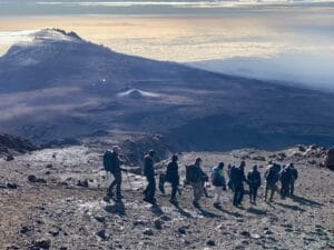 The long descent down Kilimanjaro