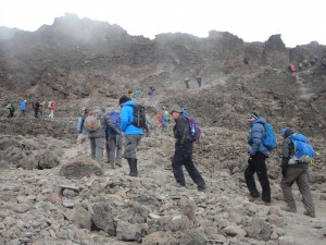 The final hill into high camp, Barafu on Kilimanjaro.