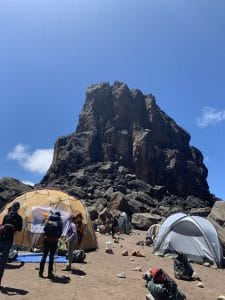Reaching the Lava Tower on Kilimanjaro