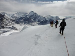 Coming down off the summit of Mera Peak