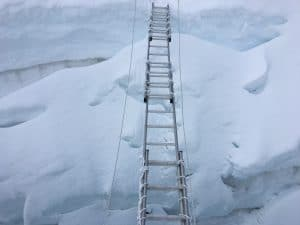 Crossing a ladder on Island Peak