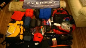 My kit for Everest base camp