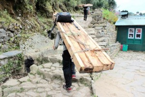 Porter carrying heavy loads near Everest
