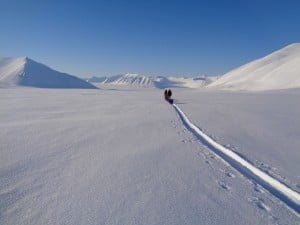 Deep snow crossing Svalbard