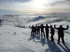 High on the summit ridge of Kilimanjaro