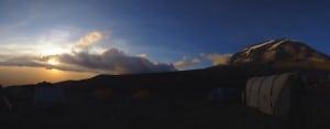 Sunset in Karanga camp on Kilimanjaro