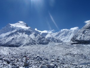 The summit of Cho Oyu from base camp