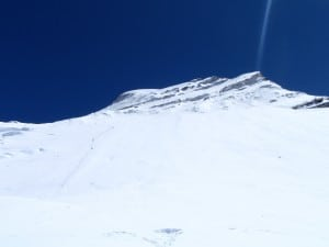 High on Cho Oyu looking at the top