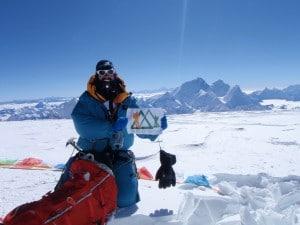 Ian Taylor Trekking on the summit of Cho Oyu