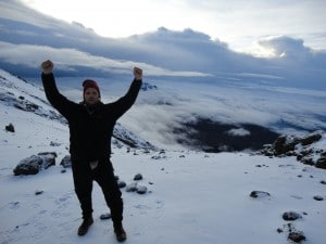 At the crater rim on Kilimanjaro