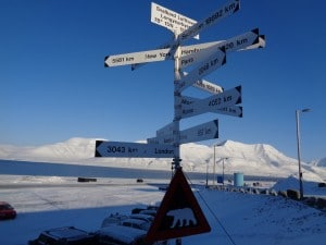 Direction signs just outside Longyearbyen airport