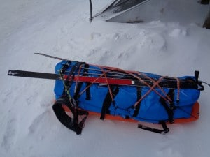 A pulk with all gear for a Svalbard crossing