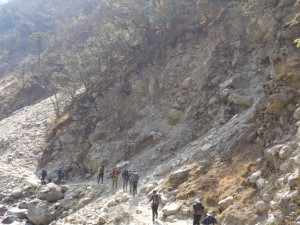 Dangerous landslide area on the Everest trek