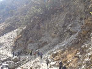 Dangerous landslide area on the Everest trek