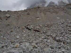 Come up off the glacier at Everest Base Camp