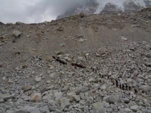 Come up off the glacier at Everest Base Camp