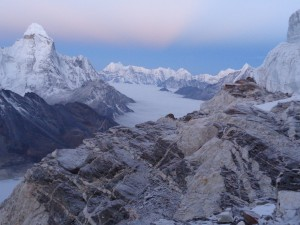 High in the Everest region on Island peak