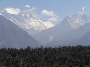 Panoramic view of Everest from above Namche Bazaar