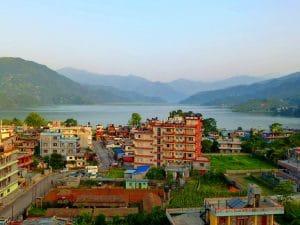 Pokhara lake and town