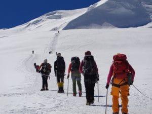 Mera peak team moving up to High camp