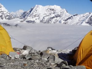 View out of the tent at High camp on Mera peak