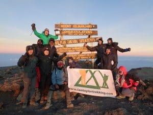 The whole team on the summit of Kilimanjaro