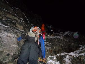 Coming up through the gully 5,700m in the dark. You will be scrambling through some sections