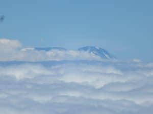 The view of Kilimanjaro as you fly passed