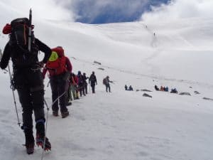 Crossing the Mera La on Mera Peak