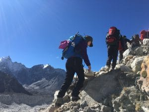 Hiking out of Everest Base Camp