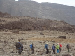 Walking down into Barranco Camp