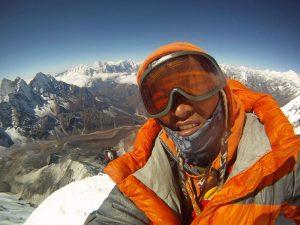 On the summit of Ama Dablam