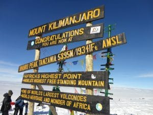 On the top of Kilimanjaro
