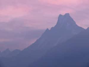 Beautiful light on Machapuchare mountain