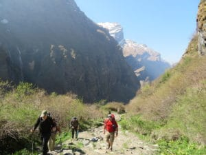 The final hike into Machapuchare Base Camp
