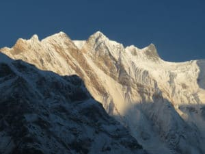 The ridge line between Annapurna South and Annapurna I