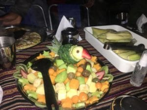 Beautiful Fruit Platter on the Inca Trail