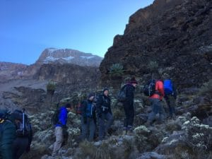 Heading up the Barranco Wall on Kilimanjaro