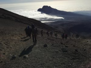 An outline of a day hiking on Kilimanjaro