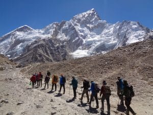 The final walk into Everest Base Camp