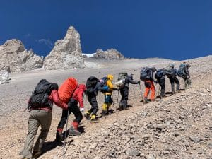Hiking up to Camp 2 on Aconcagua