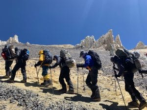 The steep hike up to camp 3 on Aconcagua