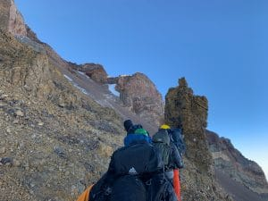 The traverse to the cave on Aconcagua