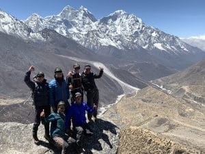 The Ian Taylor Trekking team during the acclimatization hike in Dingbouche