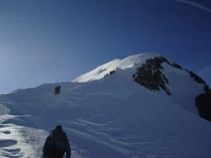 The ridge to the summit of Mont Blanc