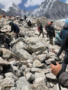 The rocky trail into Everest Base Camp
