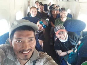On the flight o Lukla