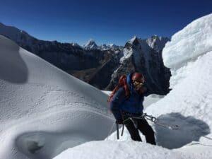 Rappelling on the Island Peak Glacier