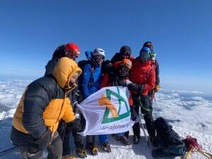 Ian Taylor Trekking team on the summit of Elbrus
