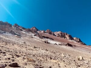 Looking up to the summit of Aconcagua